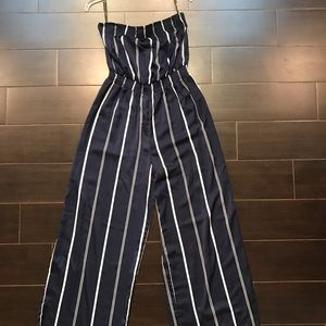 Forever 21 Navy & White Striped Jumpsuit